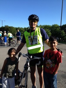 Ketan with his children at the end of the ride